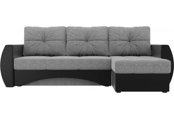 Угловой диван Сатурн Серый/черный (Рогожка/Экокожа) - фото 2
