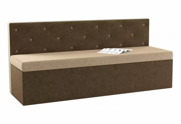 Кухонный прямой диван Салвадор бежевый/коричневый (Микровельвет) - фото 1