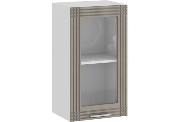 Шкаф навесной c одной дверью со стеклом «Ольга» (Белый/Кремовый) - фото 1