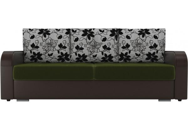 Прямой диван Мейсон зеленый/коричневый (Микровельвет/Экокожа/флок на рогожке) - фото 2