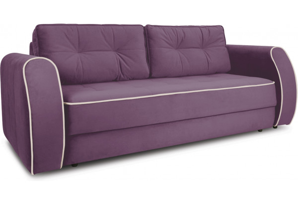 Диван «Хьюго» (Kolibri Violet (велюр) фиолетовый кант Kolibri Cream (велюр) кремовый) - фото 1