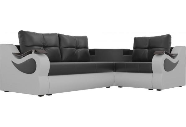 Угловой диван Митчелл Черный/Белый (Экокожа) - фото 3