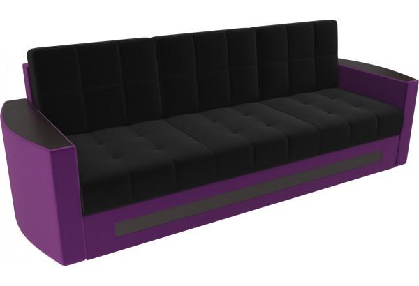 Диван прямой Белла черный/фиолетовый (Микровельвет) - фото 1
