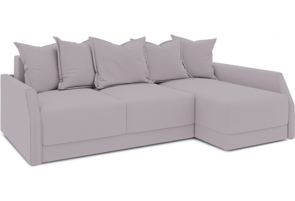 Диван угловой правый «Люксор Slim Т2» (Poseidon Pale Lavender (иск.замша) бледно-лавандовый) - фото 1