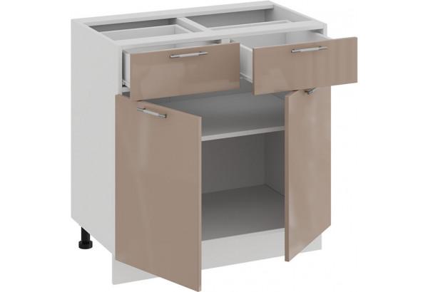 Шкаф напольный с двумя ящиками и двумя дверями «Весна» (Белый/Кофе с молоком) - фото 2
