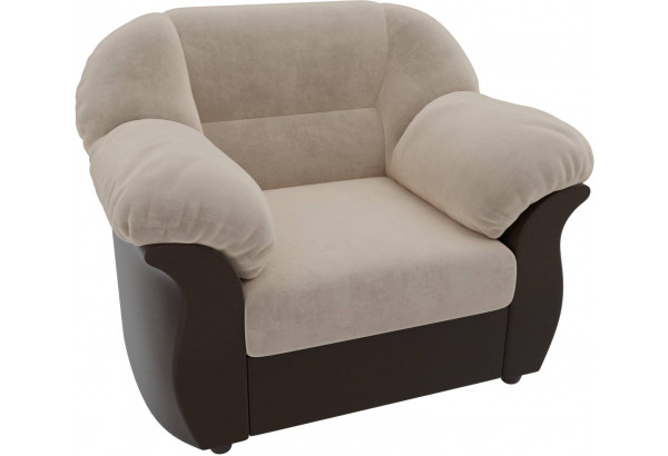 Кресло Карнелла бежевый/коричневый (Велюр/Экокожа) - фото 4
