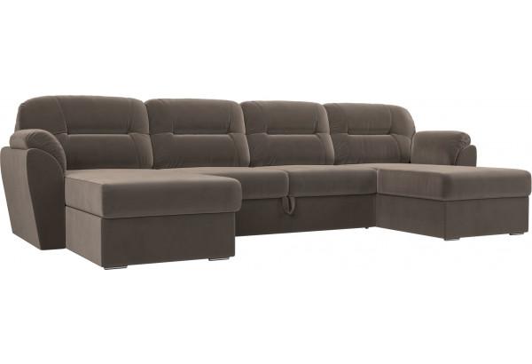 П-образный диван Бостон Коричневый (Велюр) - фото 1