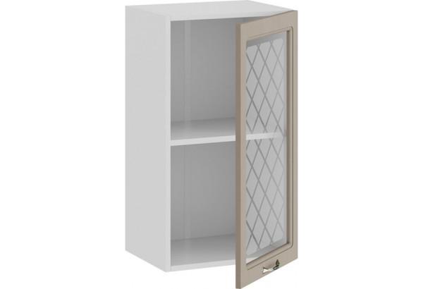 Шкаф навесной c одной дверью со стеклом «Бьянка» (Белый/Дуб кофе) - фото 2