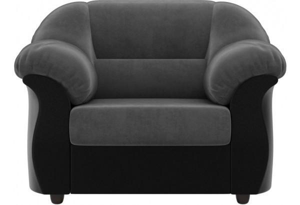 Кресло Карнелла Серый/черный (Велюр/Экокожа) - фото 2