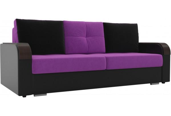 Прямой диван Мейсон Фиолетовый/Черный (Микровельвет/Экокожа) - фото 1