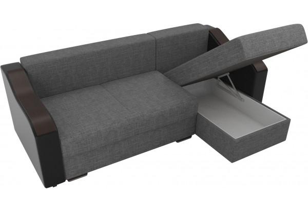 Угловой диван Монако Серый/Черный/Цветы (Рогожка/Экокожа) - фото 5