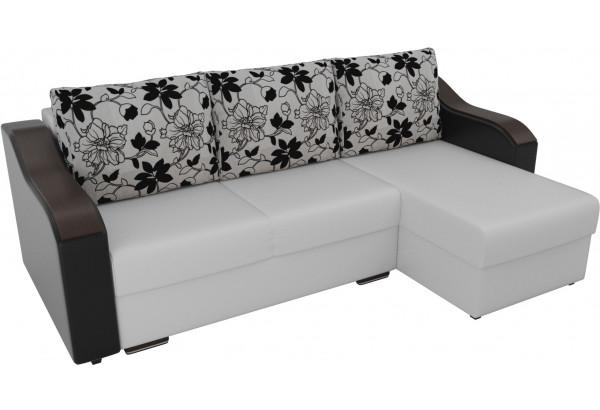 Угловой диван Монако Белый/Черный/Цветы (Экокожа/рогожка) - фото 4