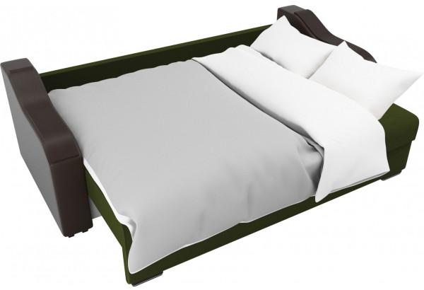 Прямой диван Монако зеленый/коричневый (Микровельвет/Экокожа/флок на рогожке) - фото 7