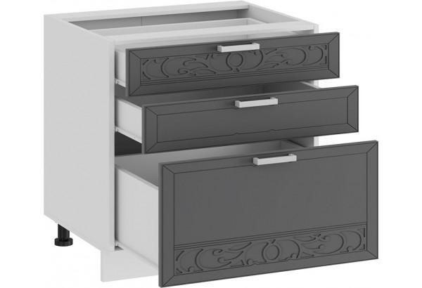 Шкаф напольный с тремя ящиками «Долорес» (Белый/Титан) - фото 2