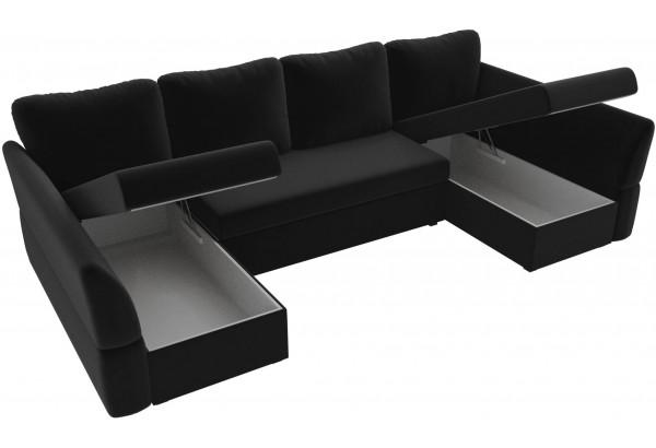П-образный диван Гесен Черный (Микровельвет) - фото 5