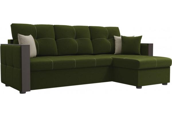 Угловой диван Валенсия Зеленый (Микровельвет) - фото 1