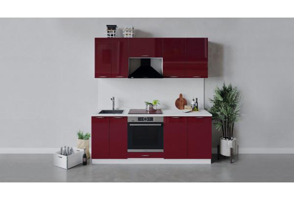 Кухонный гарнитур «Весна» длиной 200 см со шкафом НБ (Белый/Бордо глянец) - фото 1