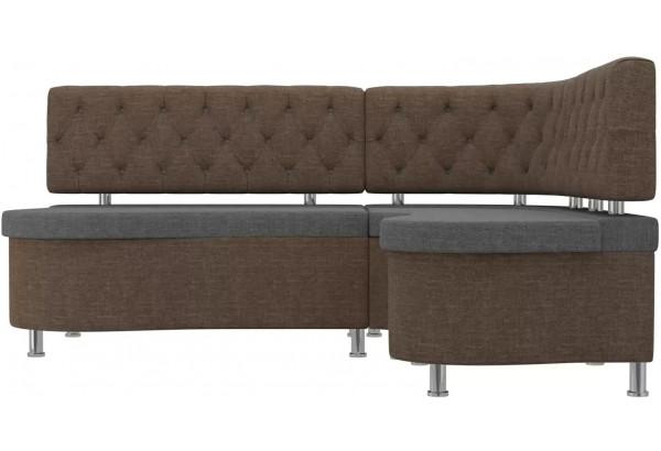 Кухонный угловой диван Вегас Серый/коричневый (Рогожка) - фото 2