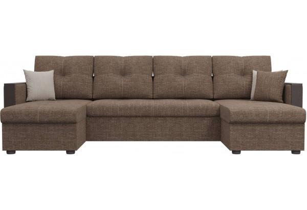П-образный диван Валенсия Коричневый (Рогожка) - фото 2