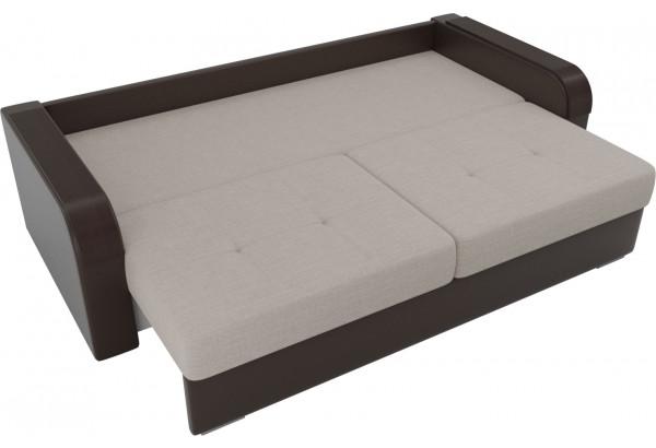 Прямой диван Мейсон бежевый/коричневый (Рогожка/Экокожа) - фото 6