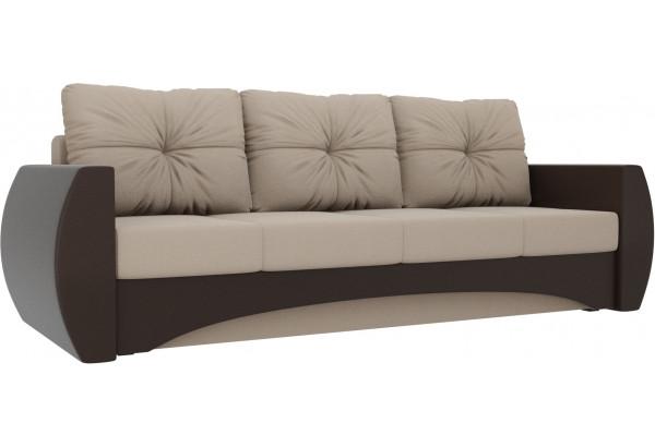 Прямой диван Сатурн бежевый/коричневый (Рогожка/Экокожа) - фото 1