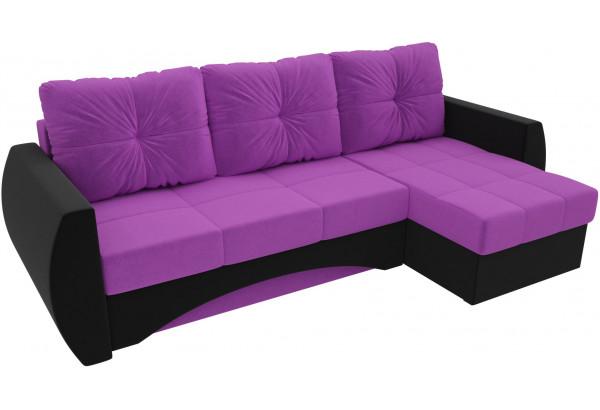 Угловой диван Сатурн Фиолетовый/Черный (Микровельвет) - фото 4