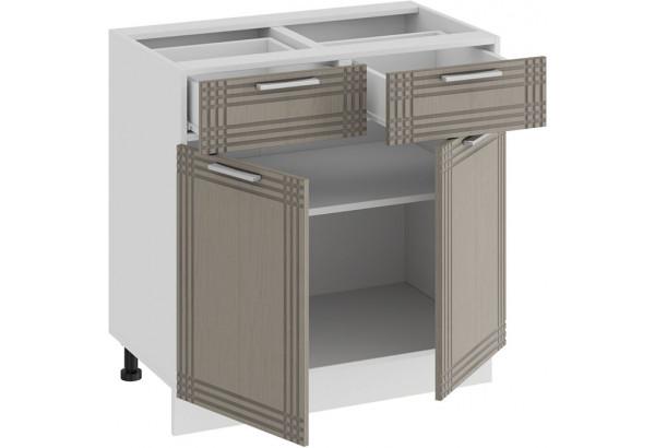 Шкаф напольный с двумя ящиками и двумя дверями «Ольга» (Белый/Кремовый) - фото 2