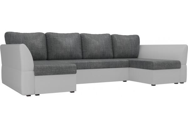 П-образный диван Гесен Серый/белый (Рогожка/Экокожа) - фото 1