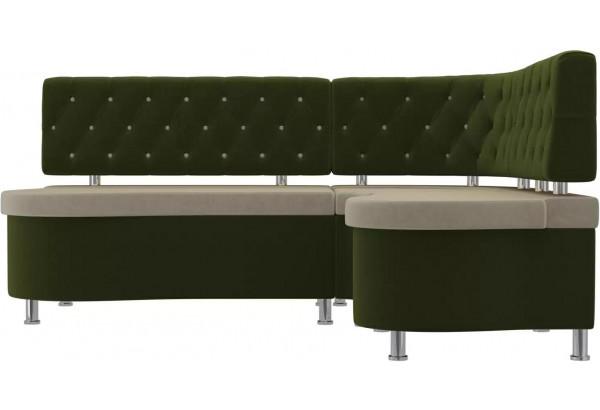 Кухонный угловой диван Вегас бежевый/зеленый (Микровельвет) - фото 2