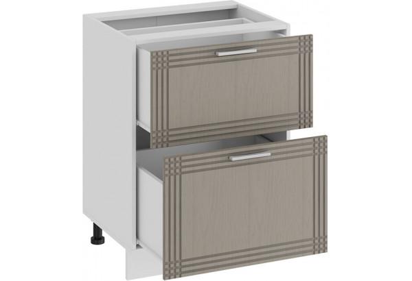 Шкаф напольный с двумя ящиками «Ольга» (Белый/Кремовый) - фото 2