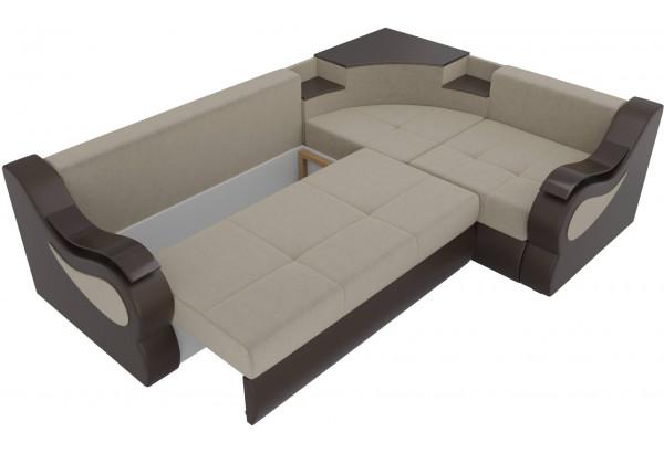Угловой диван Митчелл бежевый/коричневый (Микровельвет/Экокожа) - фото 6