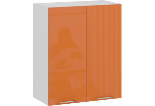 Шкаф навесной c двумя дверями «Весна» (Белый/Оранж глянец) - фото 1