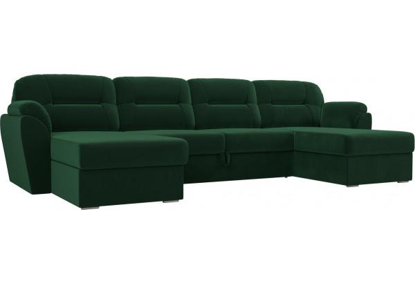 П-образный диван Бостон Зеленый (Велюр) - фото 1