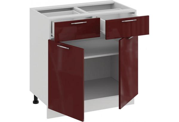 Шкаф напольный с двумя ящиками и двумя дверями «Весна» (Белый/Бордо глянец) - фото 2