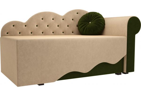 Детская кровать Тедди-1 бежевый/зеленый (Микровельвет) - фото 1