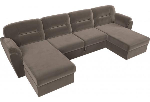 П-образный диван Бостон Коричневый (Велюр) - фото 5