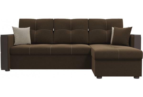 Угловой диван Валенсия Коричневый (Микровельвет) - фото 2