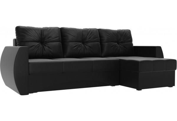 Угловой диван Сатурн Черный (Экокожа) - фото 1