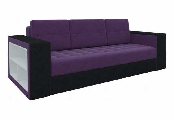 Диван прямой Пазолини Фиолетовый/Черный (Микровельвет) - фото 1