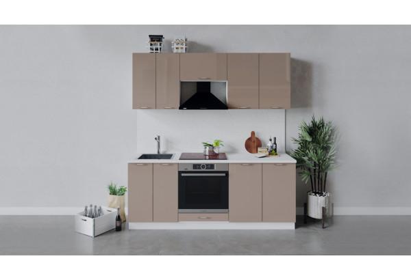 Кухонный гарнитур «Весна» длиной 200 см со шкафом НБ (Белый/Кофе с молоком) - фото 1