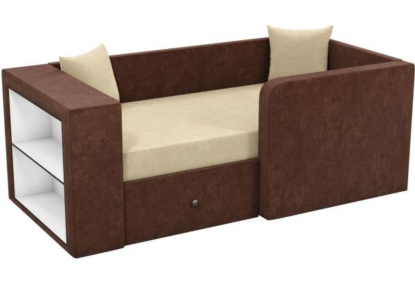 Детский диван Орнелла бежевый/коричневый (Микровельвет) - фото 1