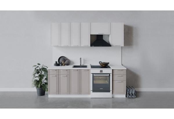 Кухонный гарнитур «Ольга» длиной 220 см (Белый/Белый/Кремовый) - фото 1
