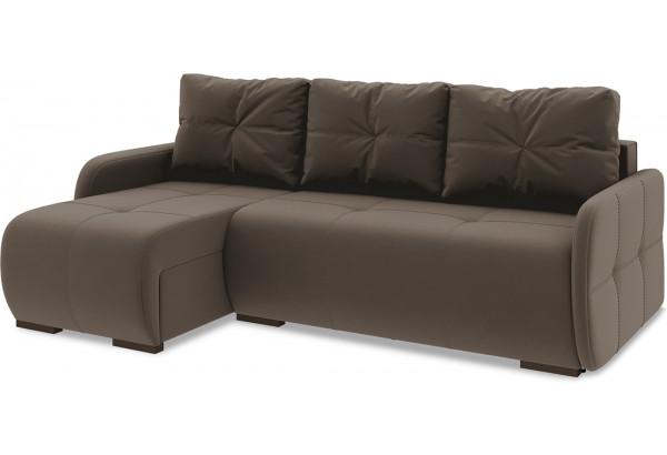 Диван угловой левый «Томас Slim Т1» Beauty 04 (велюр) коричневый - фото 1