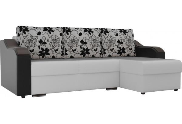 Угловой диван Монако Белый/Черный/Цветы (Экокожа/рогожка) - фото 1