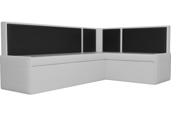 Кухонный угловой диван Кристина Белый/Черный (Экокожа) - фото 3