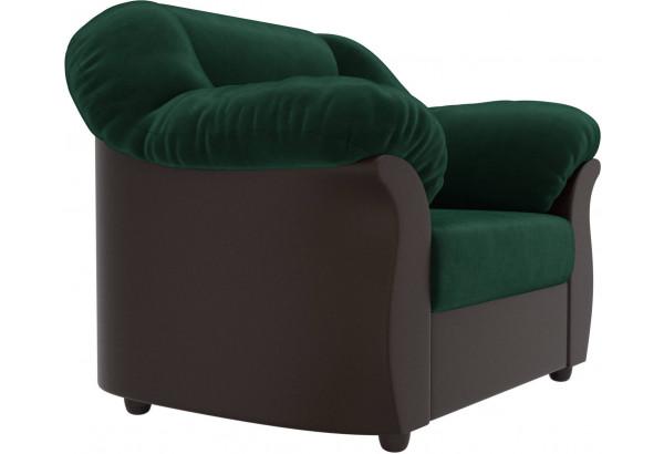 Кресло Карнелла зеленый/коричневый (Велюр/Экокожа) - фото 3