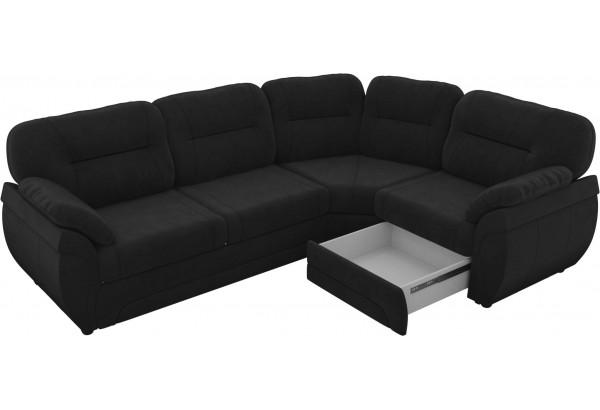 Угловой диван Бруклин Черный (Велюр) - фото 4
