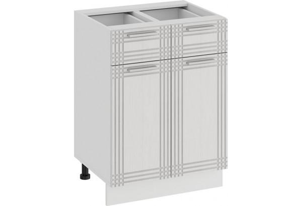 Шкаф напольный с двумя ящиками и двумя дверями «Ольга» (Белый/Белый) - фото 1