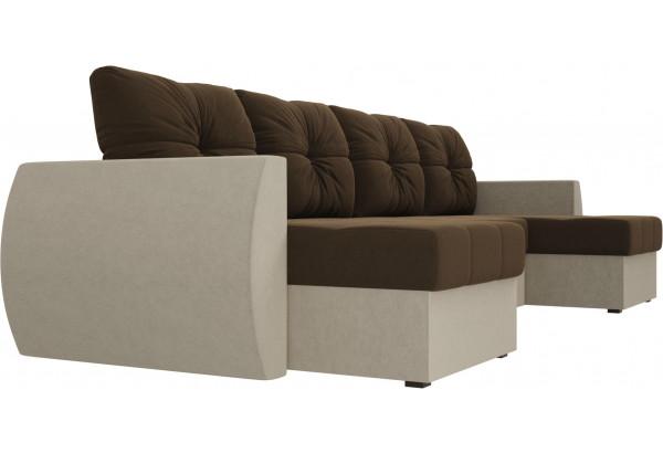 П-образный диван Сатурн Коричневый/Бежевый (Микровельвет) - фото 3