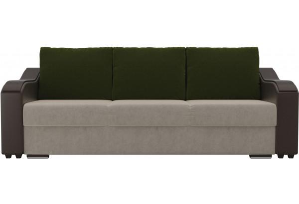 Прямой диван Монако бежевый/коричневый (Микровельвет/Экокожа) - фото 2